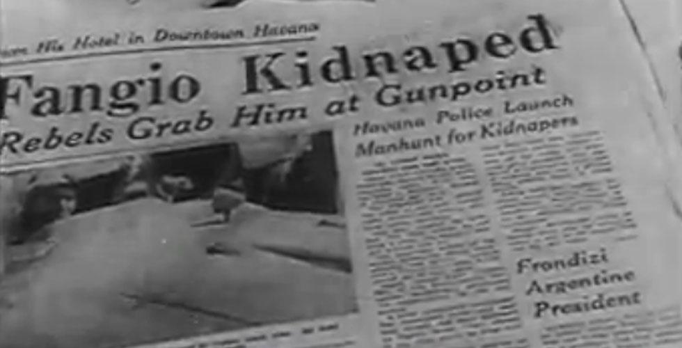 Juan Manuel Fangio enlevé par les Castristes