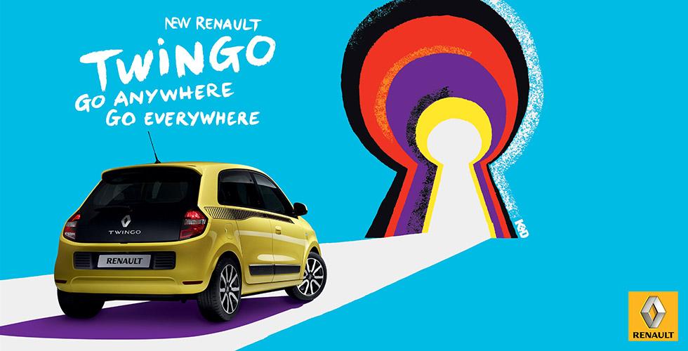 Publicité Renault Twingo, quand «Go anywhere, go everywhere» remplace «À vous d'inventer la vie qui avec»