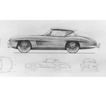 Caption orig.: Friedrich Geiger, Stilistik-Skizze zum MB 300 SL Roadster mit Coupé-Dach, ca. 1956.