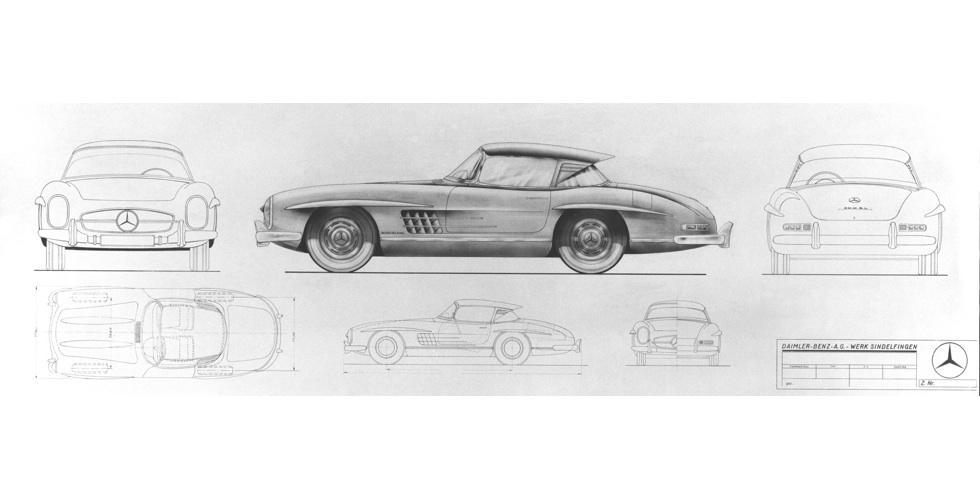 Dessin : Mercedes 300 SL