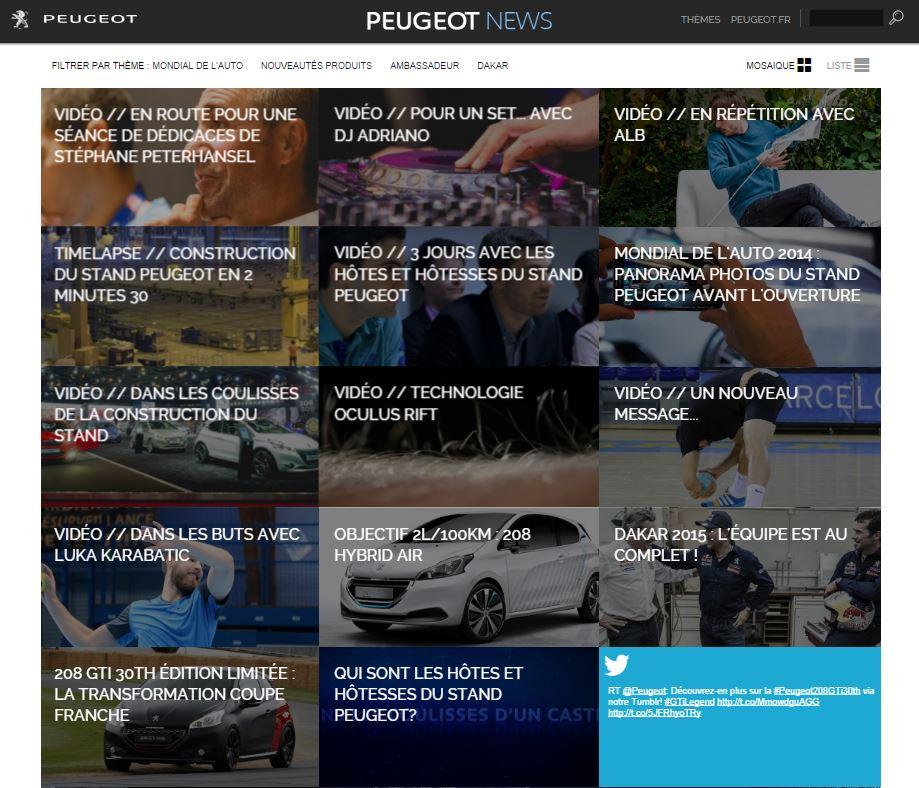Screenshot Peugeot News