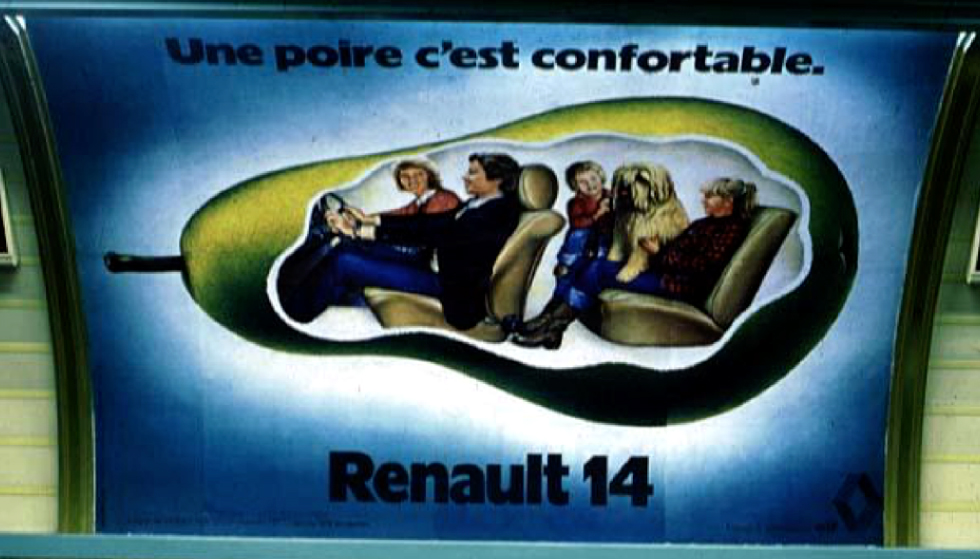 publicit la poire de renault. Black Bedroom Furniture Sets. Home Design Ideas