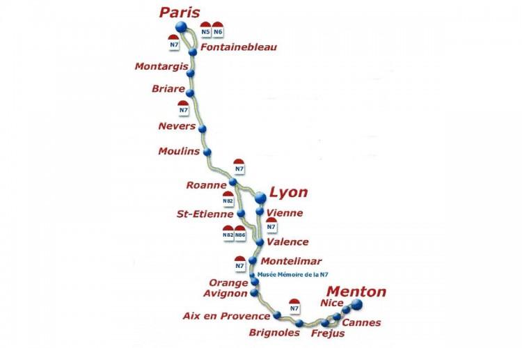 N7 carte tracé parcours nationale 7
