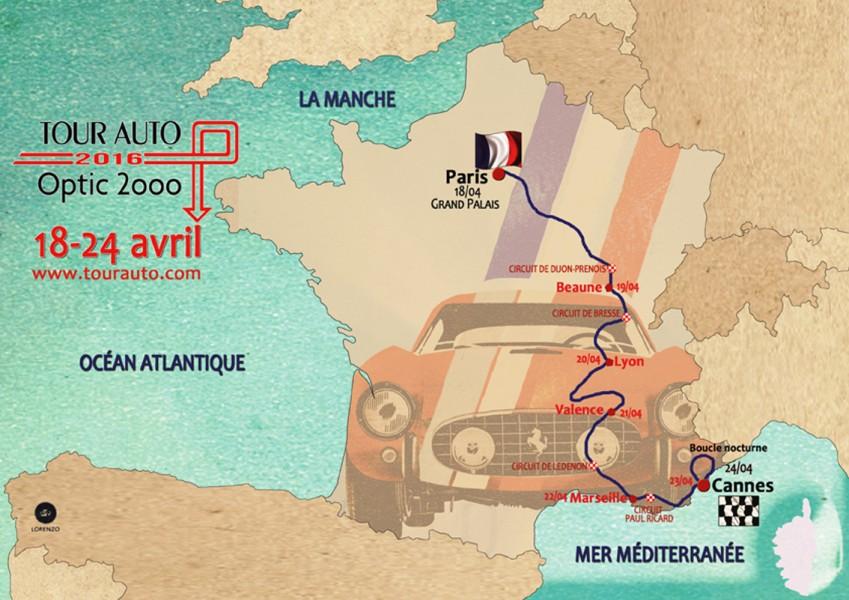 151202 Tour Auto 2016 - parcours carte
