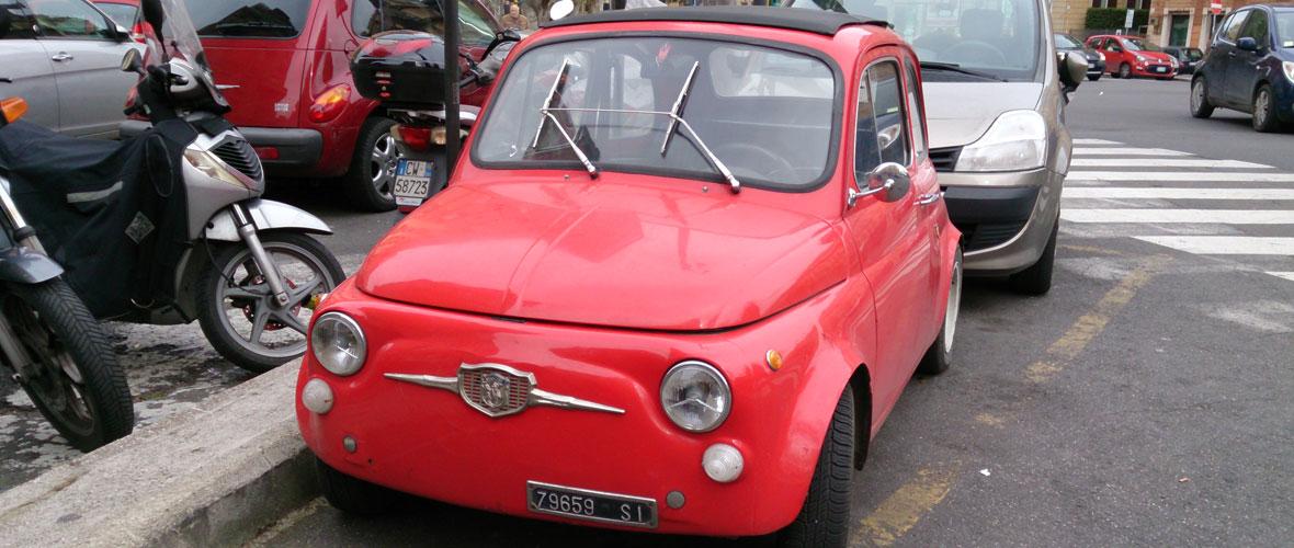Vu : Fiat 500 dans les rues de Rome