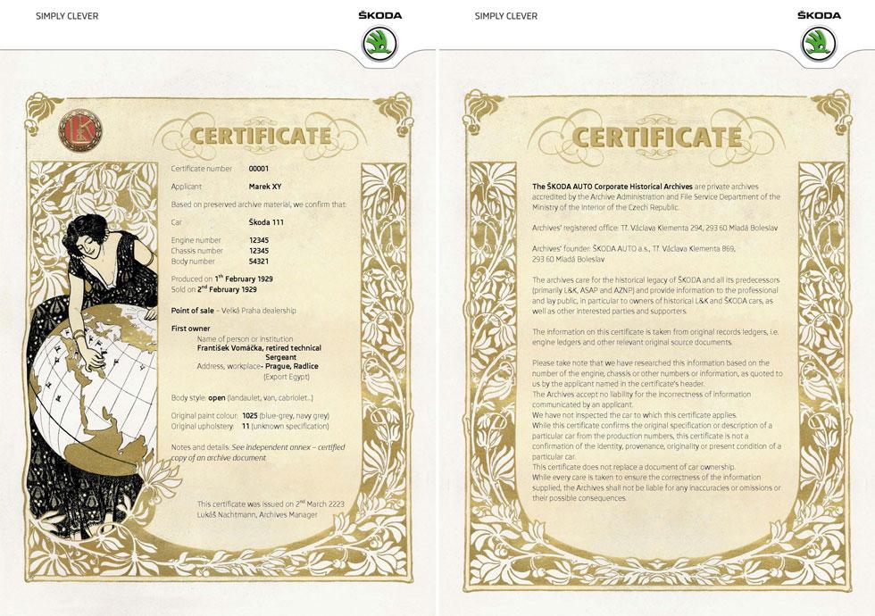 Un certificat de naissance pour les Skoda historiques