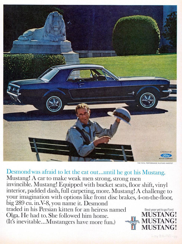 Publicité : la Ford Mustang dans les années 60