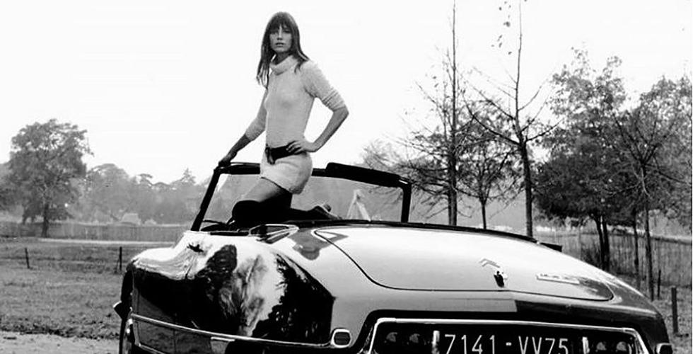 Jane Birkin et la Citroën DS Cabriolet Chapron