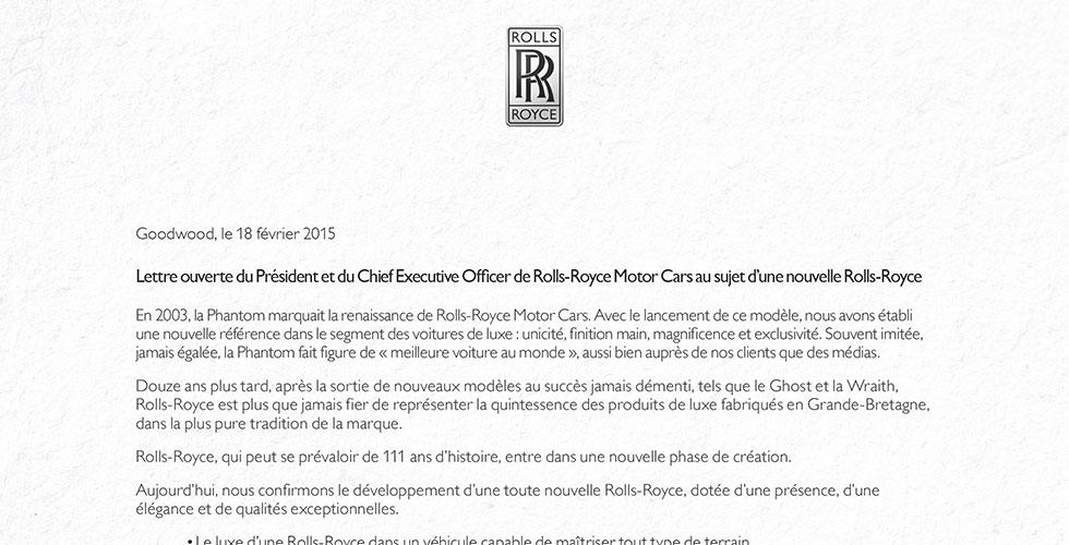 Une lettre ouverte pour annoncer un 4×4 Rolls-Royce