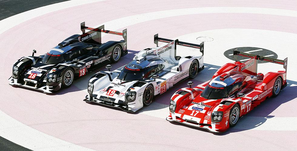 Porsche au Mans 2015 : weiß, schwarz und rot