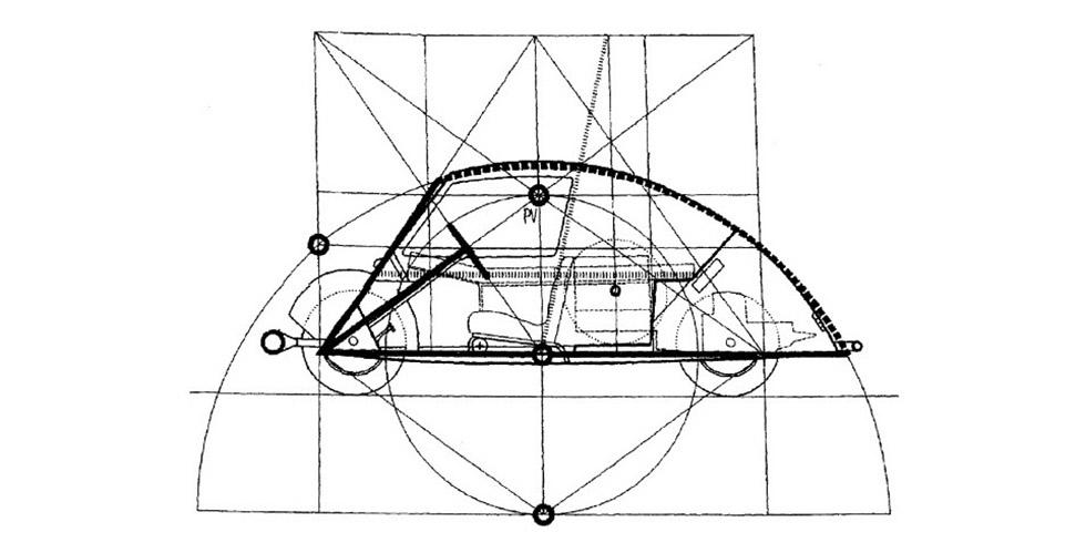 Le Corbusier et sa voiture minimum